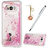For Samsung Galaxy S8 Plus Case,Badalink Sparkly Bling Samsung S8 Plus Case Dynamic Flowing 3D Glitter Fantasy Shiny TPU Silicone Bumper Shock Absorption Anti-Scratch Grip Flexible Skin Cover for Samsung Galaxy S8 Plus with 1 Dust Plug & 1 Touch Pen,Butterfly Fairy
