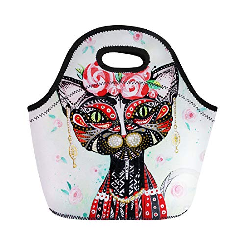Semtomn Lunch Bags Black Animal Watercolor Stylised Portrait Humanized Cat Pattern Roses Neoprene Lunch Bag Lunchbox Tote Bag Portable Picnic Bag Cooler Bag ()