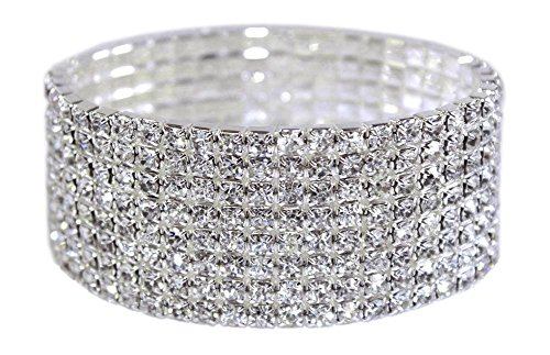 (Weiss Rhinestone Stretch Bracelet Silver - Genuine Crystal - Bridal, Wedding, Prom, Party, Pageant, Evening Wear, Party Wear, Tennis Bracelet (8 Row))