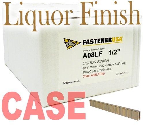 1/2'' LEG x 3/16'' CROWN 22GA LIQUOR FINISH A08 UPHOLSTERY STAPLES 200M Case