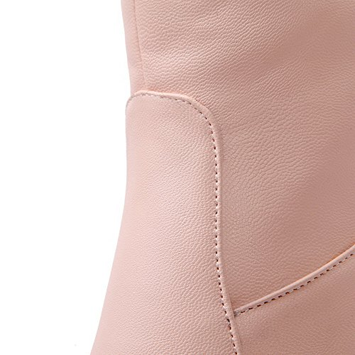 PU Women's AgooLar Boots on Pull top Pink Solid High Heels High xRwfXdwF