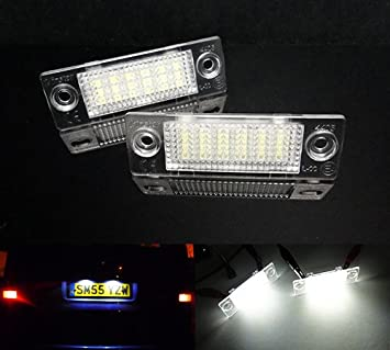 2 luces LED para matrícula, color blanco para Transporter T5 T6 Multivan Caddy Jetta Passat: Amazon.es: Coche y moto