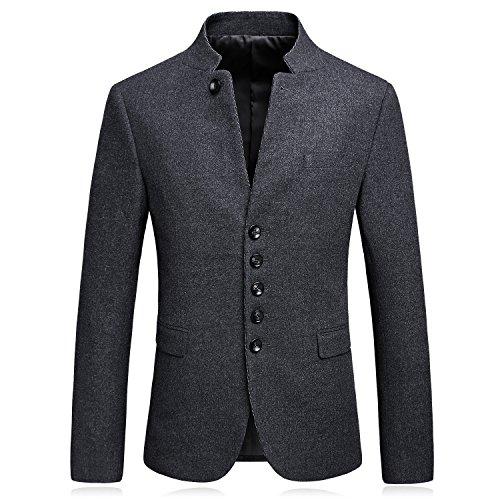 SUNNY SHOP Mandarin Collar Blazer Jacket For Men Smart Casual Wool Tweed Sports Jackets Bottons (Wool Tweed Jacket)
