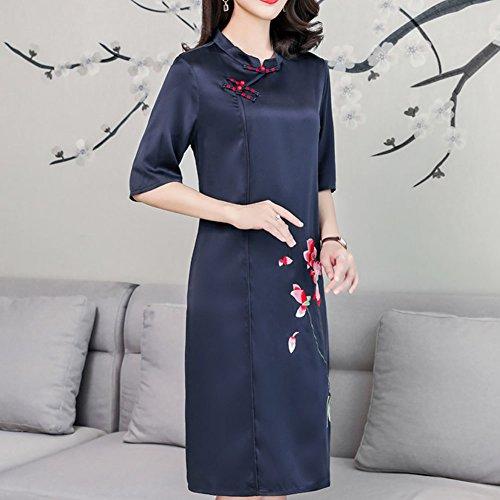 Kleider Midi Gestreift Damen Abendkleid Kleid Übergröße DISSA Seide Blau Cocktail S2927 8UxqtPaw7