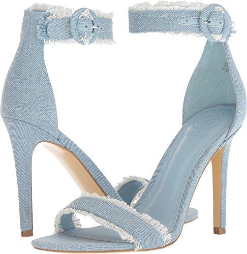 GUESS Women's Pollee Light Denim/Light Denim 7.5 M US (Strap Guess Sandals Ankle)