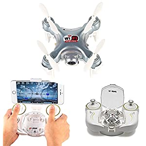 AICase Cheerson CX-10WD-TX Mini Drone WiFi FPV Remote Control Helicpoter Quadcopter with HD Camera 4CH 2.4GHz 6-axis Gyro Nano Altitude Hold Aircraft Multi-Color LED Light One Key Take Off/Landing 513VnWlJqSL