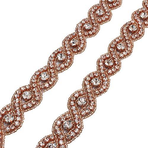 XINFANGXIU 1 Yard Wedding Sash Belt Bridal Wedding Dress Applique, Bridal Wedding Sash Crystal Belt Beaded Embellishments for Women Formal Dresses Sewn or Hot Fix - Rose Gold