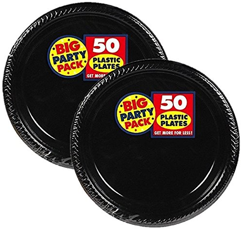 Amscan Big Party Pack 100 Count Plastic Dessert Plates, 7-Inch, Black -