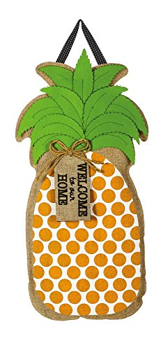Evergreen Flag Welcome to our Home Pineapple Hanging Outdoor-Safe Burlap Door Décor - 15