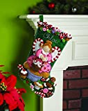 Bucilla Cupcake Angel Christmas Stocking Felt Applique Kit, 86207 18-Inch