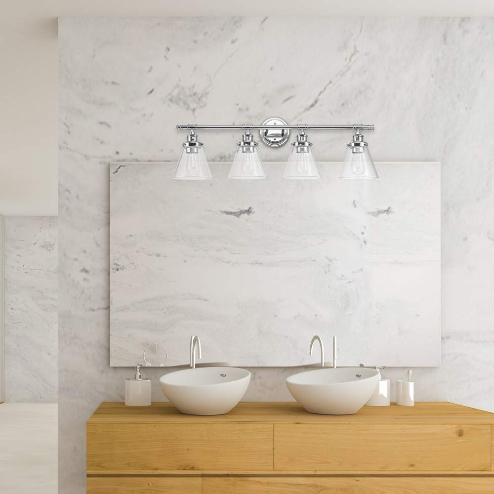 Globe Electric 51446 Parker 4-Light Vanity Light, Chrome with Frosted Glass Shades by Globe Electric (Image #4)
