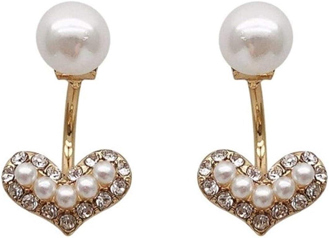 Pendientes Mujer Pendientes Ear Cuff Pendientes de perlas pendientes de diamantes pequeñas amor