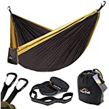 Anortrek Camping Hammock, Lightweight Portable Single & Double Hammock with Tree Straps [10 FT/18+1 Loops], Parachute Hammock for Camping, Hiking, Garden, Yard (Grey&Khaki, Double 78''W x 118''L)