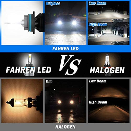 Fahren 9007/HB5 LED Headlight Bulbs, 60W 12000 Lumens Super Bright LED Headlights Conversion Kit 6500K Cool White IP68 Waterproof, Pack of two