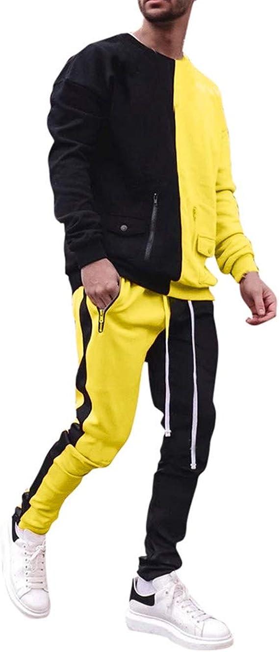 Chandal Hombre Completo, Conjuntos de Sudadera + Pantalón Costuras en Bloque de Color para Hombres, Chándal con Bolsillo y Capuchado Chandales para Otoño Invierno: Amazon.es: Ropa y accesorios