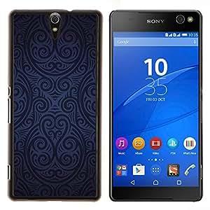 TECHCASE---Cubierta de la caja de protección para la piel dura ** Sony Xperia C5 Ultra ** --Modelo del papel pintado Azul Negro Arte Aleatorio