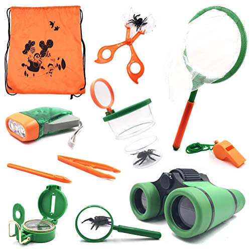 (Outdoor Kit Toys Kids - Set of 12 Adventure Kid Camping Exploration Toy, Nature Educational Children, Boys Birthday Gifts, Gift Boxed)