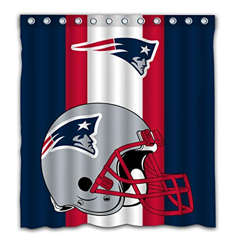 Potteroy New England Patriots Team Simple Design Shower Curtain Waterproof Polyester Fabric 66x72 Inches