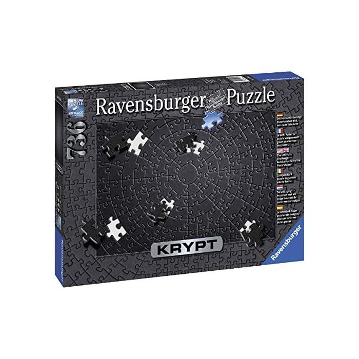 513VpOid7fL Ravensburger puzzle para adultos de la linea krypt Puzzle monocromáticos para todos los fanáticos de los puzzles El desafio no radica en el motivo impreso, sino observar la forma muy particular de las diversas piezas y buscar su ajuste