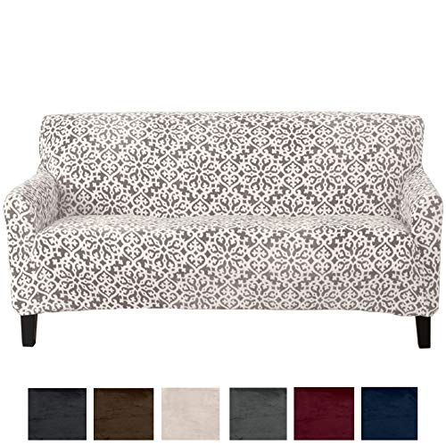 Great Bay Home Modern Velvet Plush Strapless Slipcover. Form Fit Stretch, Stylish Furniture Cover/Protector. Gale Collection Brand. (Sofa, Snowflake - Wild Dove Grey) (Sofa Camelback Cover)