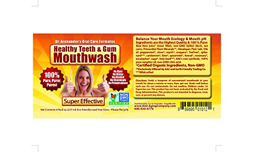 Healthy Teeth & Gum MOUTHWASH – Organic/nonGMO - Helps Reduce gum disease, recession, sensitivity, bad breath, plaque, lichen planus. Full Strength Aloe Vera, Stimulates Gum Tissue Health & Regrowth.