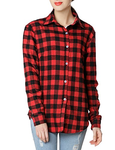 GUANYY Women's Long Sleeve Casual Loose Classic Plaid Button Down Shirt(Red Black,Large) (Plaid Black And Red Shirt)