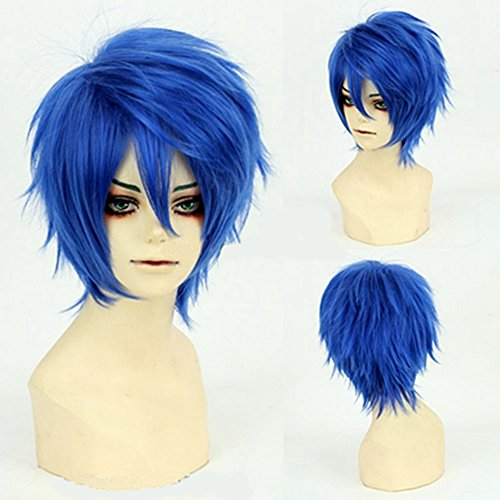 [Fashion Short Hair Cosplay Wigs Curly Hair Tail Heat Resistant Dark Blue Costume Wig by UPS] (Ups Package Costume)