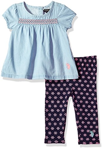 (U.S. Polo Assn. Baby Girls Fashion Top Set, Cap Sleeves Patterned Legging Peacoat, 24M )