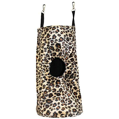 (Tree Trunk Pouch (Cheetah) - Hanging Fleece Cage Accessory Toy for Sugar Gliders, Marmosets, Rats, Hamsters, Flying Squirrels, Ferrets, Birds, Chinchillas, Parrots - Hammock, Tower, Bed, Nest Pouch)