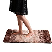Grand Era Soft Microfiber Bath Mat Rugs Water Absorbent Non-slip Antibacterial Rubber Luxury Bathroom Rugs, 24 x 36 inch,Coffee