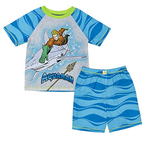 DC Comics Boys' Big Superhero 2 Piece Jersey Short Pajama Set, Aquaman Large ()