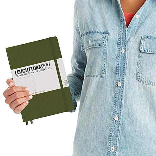 LEUCHTTURM1917 - Medium A5 Dotted Hardcover Notebook (Army) - 251 Numbered Pages