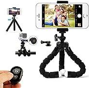 MCSWKEY Trípode Celular, Trípode Móvil Flexible con Bluetooth Control Remoto y Adaptador Smartphone, Piezas Gopro Portátil T