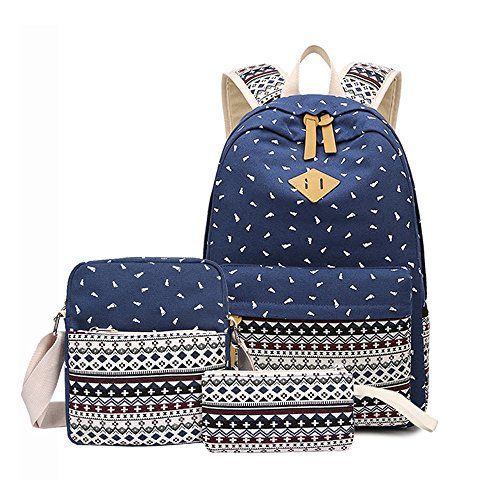 Casual Canvas Backpack Bag + Backpack School Backpacks Shoulder Bag / Messenger Bag + Big Purse For Teenage Girls Dark Blue