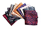 MENDENG Men's 10 Pack Assorted Pocket Square Wedding Party Handkerchiefs Set