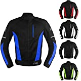 Mesh Motorcycle Jacket Textile Motorbike Summer Biker Air Jacket CE ARMOURED BREATHABLE (Medium, Blue)
