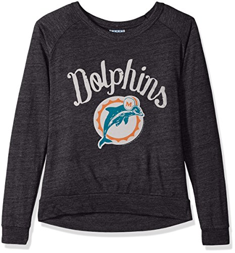 Dolphin Long Sleeve Tee (NFL Miami Dolphins Women's Long Sleeve Tee, Large, Charcoal)