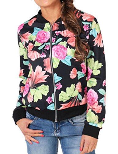 Women's Bomber Jacket, Fashion Floral Print Slim Fit Baseball Jacket (XX-Large, Black-1)