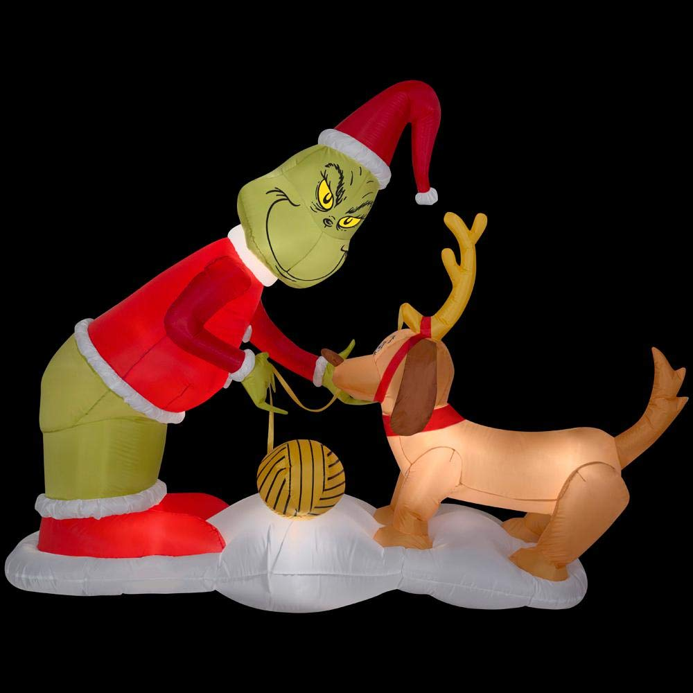 Grinch and Max Christmas Inflatable Decoration 5 ft x 6.5 ft with Inflatable Care Guide Legendary Holiday