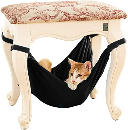 Cat Hammock Soft Under Chair Table Hanging Hammocks 2-in-1 Double-Sided Summer Winter Small Pets Puppy Hamster Lounge Bed L-Beige Grey