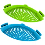 Snap Strainer, DaKuan 2 Packs of Hands-Free Clip-on Heat Resistant Colander Pour Spout for Pasta Vegetable Noodles Pot Bowl Pan