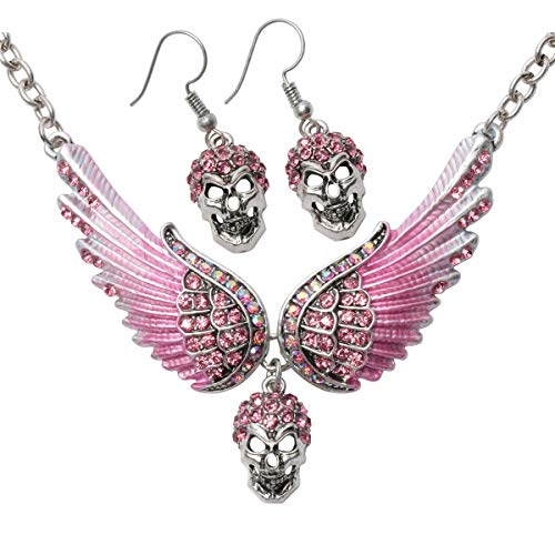 Hiddlston Guardian Angel Wing Skull Candy Choker Necklace Dangle Long Earrings Women Biker Jewelry Set for Women Teen Girls 18