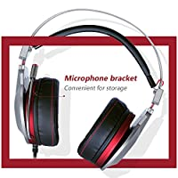 XIBERIA PS4 Gaming Headset, 3.5mm Wired with Microphone for PC Over Ear Wired Stereo Computer Headphones, Volume Control Enhanced Bass Noise Canceling Flexible Headband with LED for PC Laptop by Xiberia