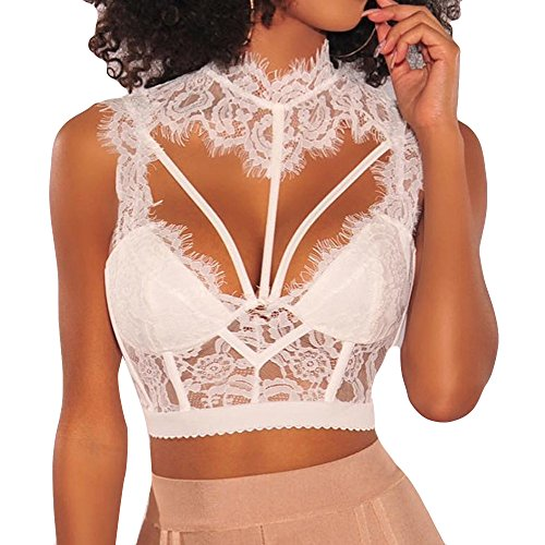 Women Tank Tops Sleeveless Lace Splice V-Neck Bra Vest T-Shirt Crop Blouse (L, White) by Yihaojia Women Blouse (Image #7)