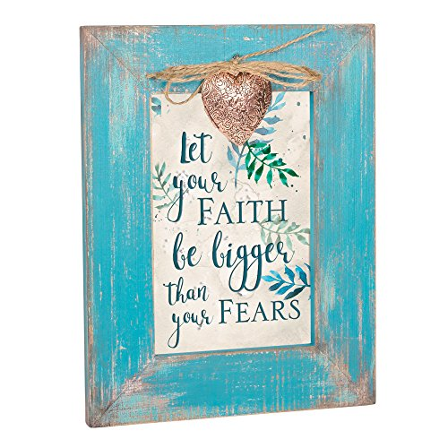 Cottage Garden Let Faith Be Bigger Than Fears Teal Distressed Wood 4 x 6 Locket Easelback Photo Frame