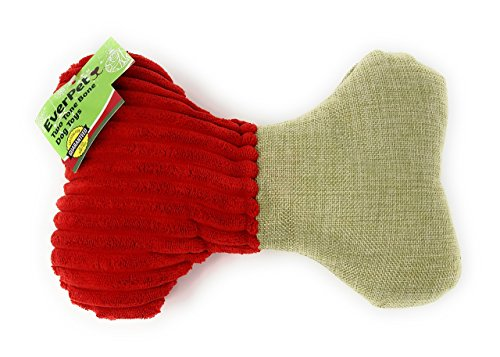 9 x 6 Inches Squeaker Chew Plush Dog Toy, Durable Two Tone Dog Squeaky Bone, Chew Textured, Bite Resistant Squeeze Puppy Toys, Great for All Sized Pets. Ideal Gift! (Red)