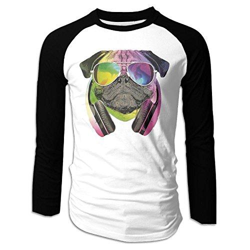 Men's DJ Pug Tri-Blend Long Tee Baseball Shirt Raglan Size M Color (Star Wars Pug Costumes)