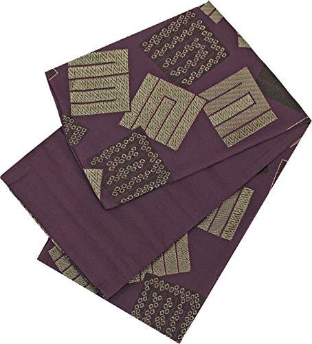 つかまえる素子アシスタント半幅帯 レディース 桐生織 歌舞伎模様 紫色 リバーシブル N3105