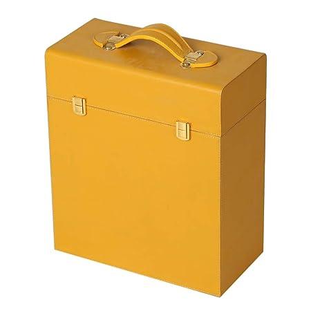 Magus Designs 3 Bottle Genuine Leather Case Crafted in Orange & Grey Suede Fabric Interior