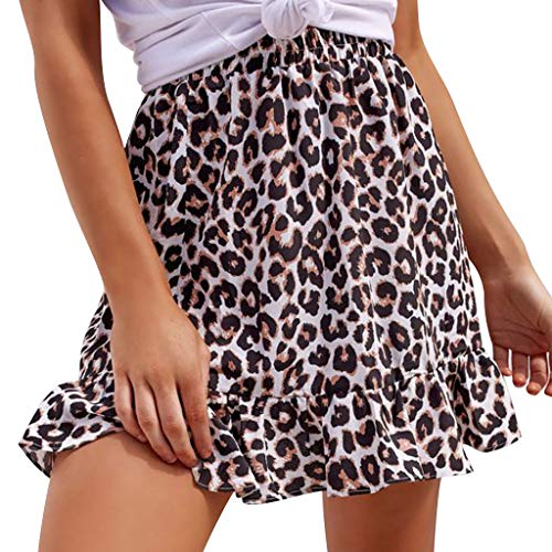 (refulgence A-Line Short Skirt Fashion Women Leopard Print Elastic Waist Ruffles Casual Mini Skirt(Black,US=S))